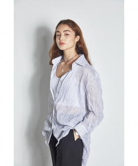[MANAVIS7] SEE THROUGH LONG SHIRT / シースルーロングシャツ