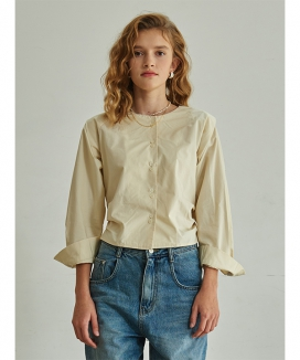 [TMO BY 13MONTH] COLLARLESS BANDING BLOUSE / カラーレス バンディングブラウス