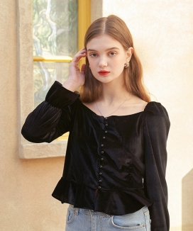 [LETTER FROM MOON] スペシャルホリディ ベルベットブラウス / Special Holiday Velvet Blouse