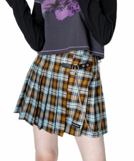 [RUNNING HIGH] バックルチェックプリーツスカート / BUCKLE CHECK PLEATED SKIRT