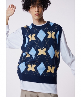 [CHARMS] バタフライアーガイルニットベスト / CHARMS BUTTERFLY ARGYLE KNIT VEST