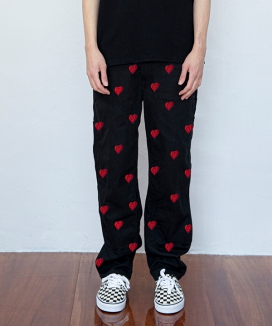 [dominant] ハート刺繍ワイドパンツ / Dominant Heart Embroidery Wide Pants