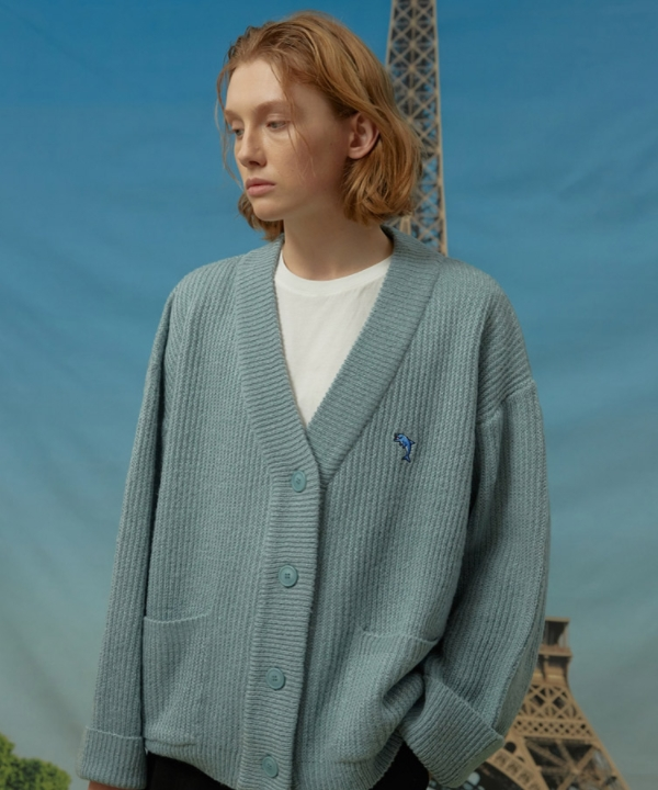 [WaiKei] ドルフィン刺繍 オーバーフィットカーディガン / Dolphin embroidery over fit cardigan