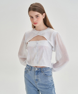 [LETTER FROM MOON] ボタンオープンボレロ セットブラウス / Button Open Volero Set Blouse