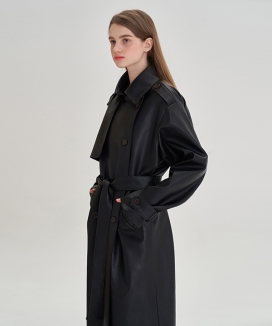 [LETTER FROM MOON] ランウェイレザートレンチコート / Runway Leather Trench Coat