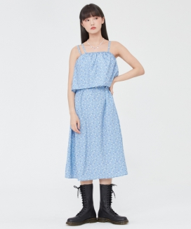 [TARGETTO] フラワーパターン レイヤードワンピース / FLOWER PATTERN LAYERED ONEPIECE