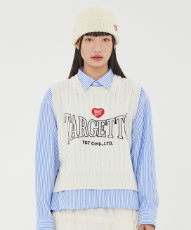 [TARGETTO] レースアップ クロップニットベスト / LACE UP CROP KNIT VEST